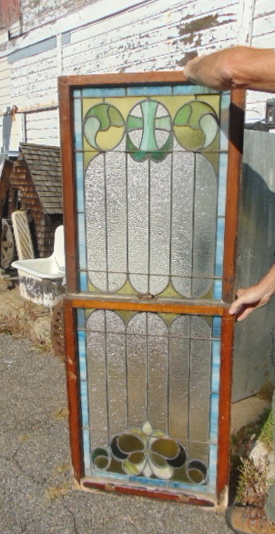 Antique Double Hung Stained Glass Windows