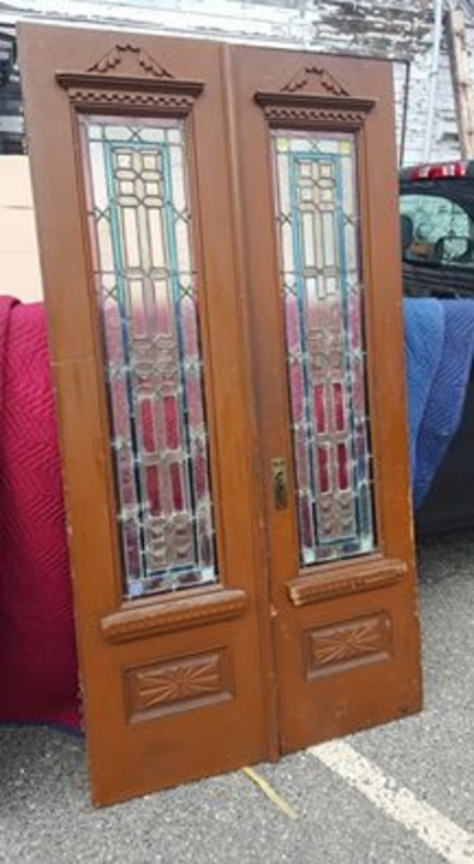 Antique Stained Glass Double Door