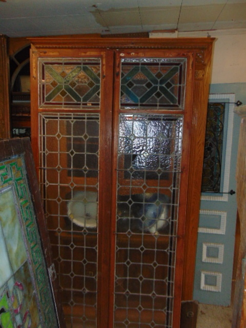 Antique Stained Glass Doors Cabinet