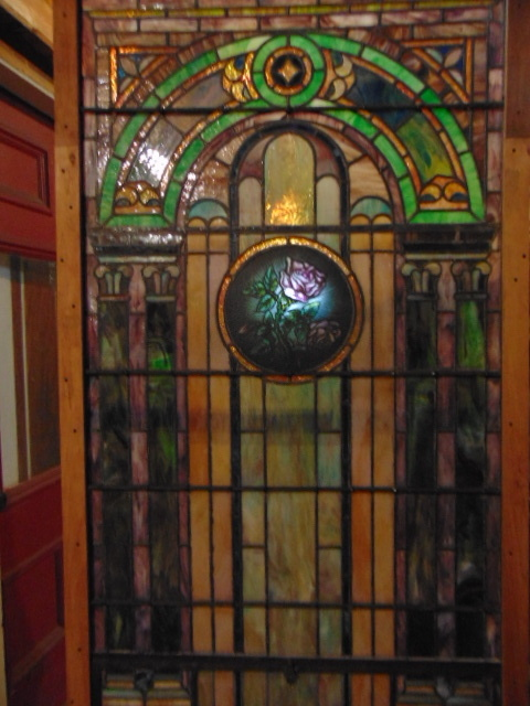 Antique Stained Glass Rose Panel Window Backlit