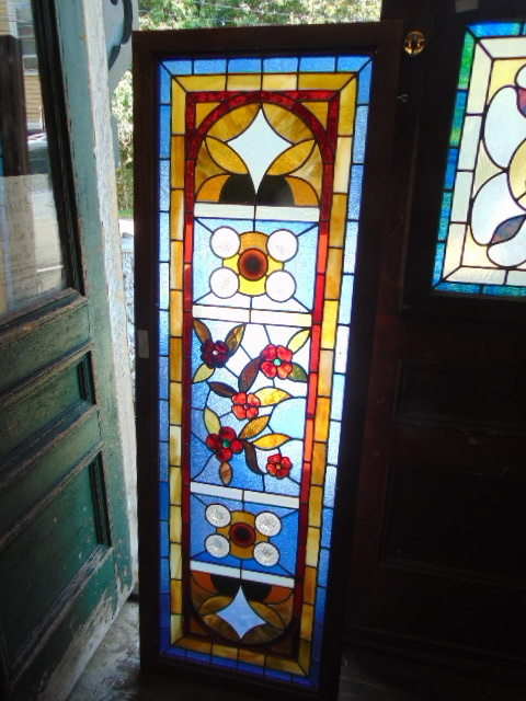 Antique Salvaged Floral Stained Glass Window