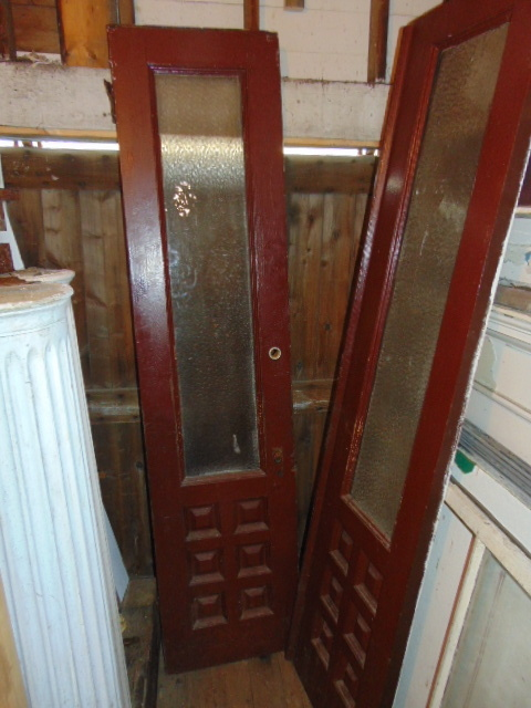 Antique Narrow Double Door Textured Glass Salvage
