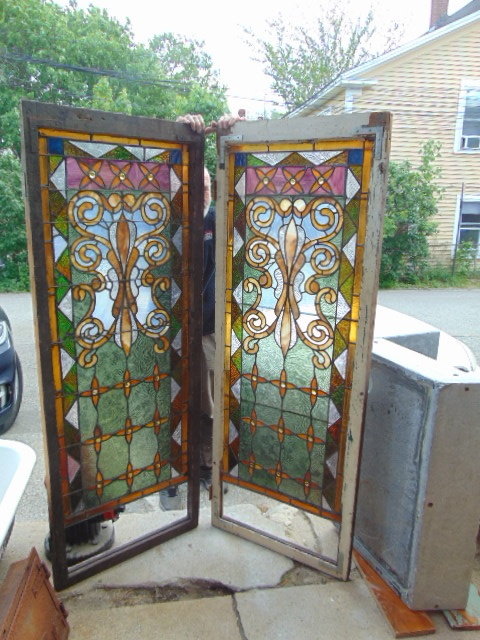 Matching Pair Antique Stained Glass Floral
