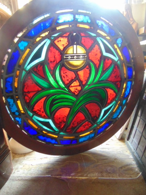 Antique Stained Glass Round Window Backlit