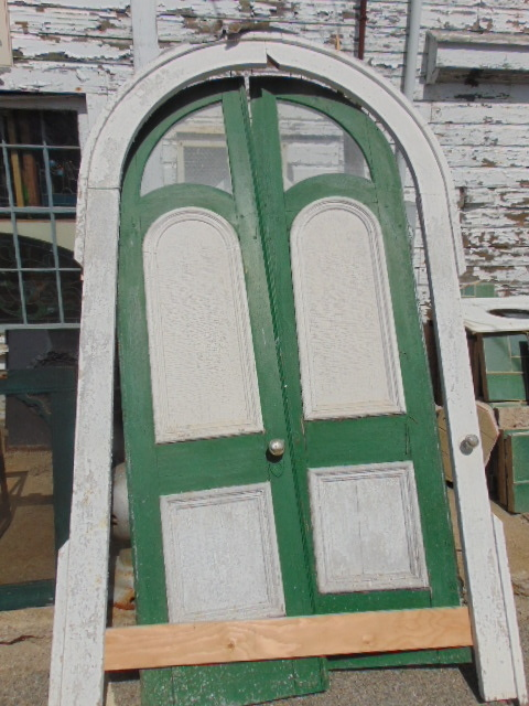 Antique Wooden Arched Double Doors