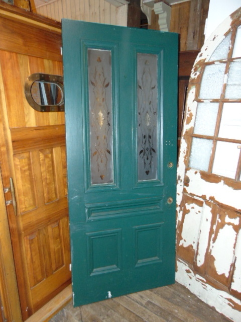 Antique Salvaged Etched Glass Front Door