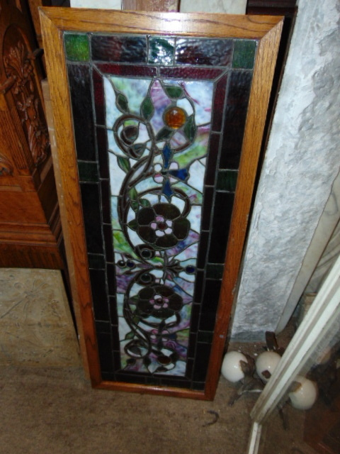 Architectural Stained Glass Floral Window