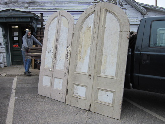 Antique Salvaged Arched Double Doors
