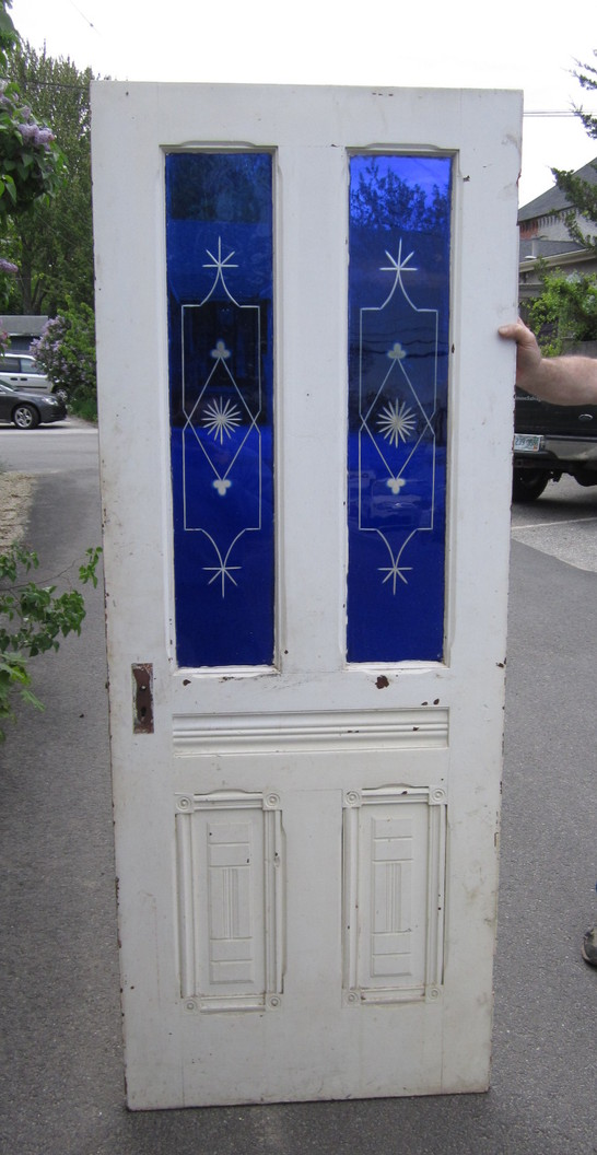 Antique Salvaged Blue Flash Glass Door