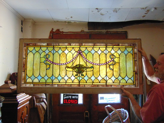Massive Antique Stained Glass Arched Window