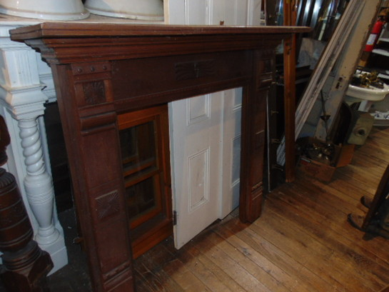 Salvaged Wooden Fireplace Mantel