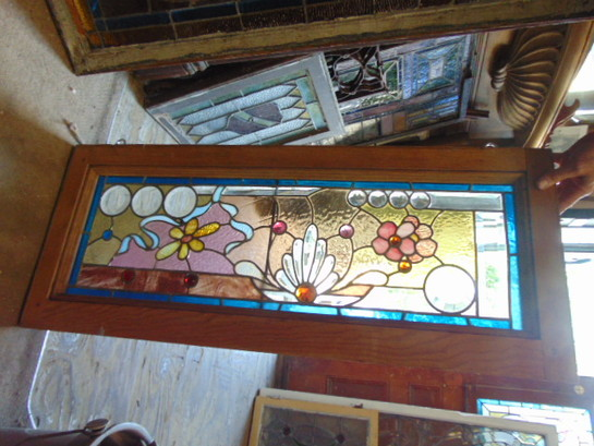 Antique Salvaged Stained Glass Window Flowers