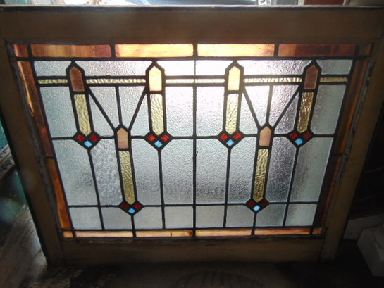 Antique Salvage English Style Stained Glass Window