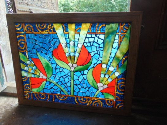 Leaded Stained Glass Blue Flower