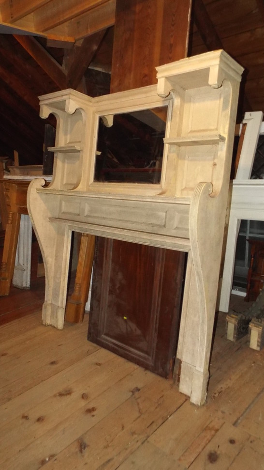 Antique Wooden Salvaged Mantelpiece With Mirror