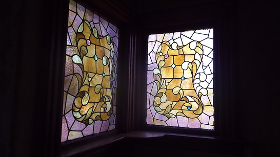 Antique Stained Glass Window Pair Violet Purple Yellow