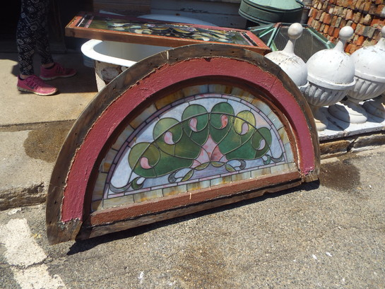 Stained Glass Antique Half Round Window