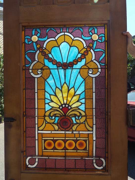 Antique Salvaged Stained Glass Door