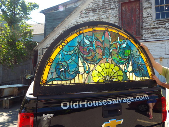 Antique Floral Half Round Stained Glass Rich Colors