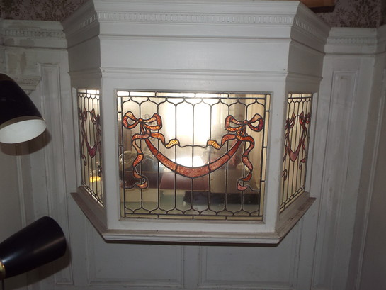 Antique Salvaged Stained Glass Bay Window
