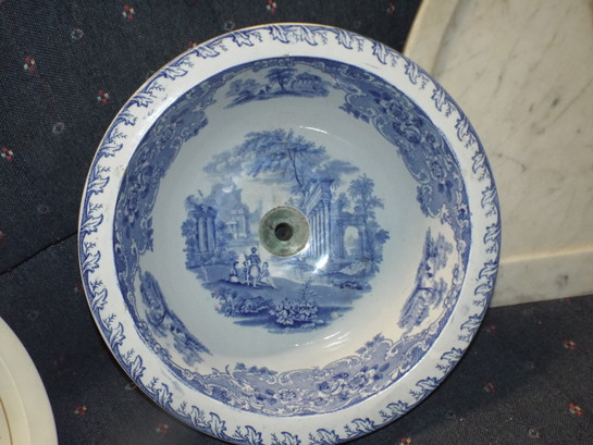 Antique Scenic Sink Bowl Salvage